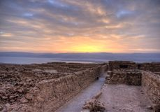 Masada fortress. And Dead sea sunrise in Israel judean desert tourism stock image