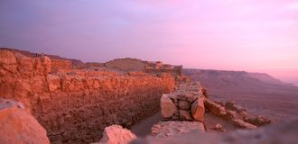 Masada fortress. And Dead sea sunrise in Israel judean desert tourism royalty free stock image