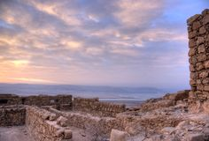 Masada fortress and Dead sea. Sunrise in Israel judean desert tourism royalty free stock photos