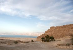 Masada fortress and Dead sea Stock Photos