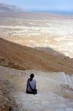 Masada Fortress Israel. MASADA,ISR - OCT 21:Visitor climbing up Masada Fortress in Israel by using the steep ancient snake path on Oct 21 2006.Masada considered Royalty Free Stock Image
