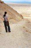 Masada Fortress Israel. MASADA,ISR - OCT 21:Visitor climbing up Masada Fortress in Israel by using the steep ancient snake path on Oct 21 2006.Masada considered Stock Image