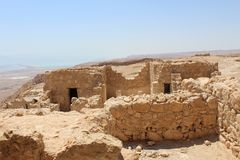 The Masada Fortress. Is located on the south-west coast of the Dead Sea, in Israel stock photography