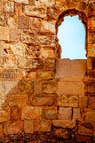 Masada fortress. A window in byzantine church in Masada fortress in Israel stock photos
