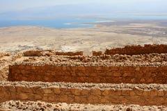 Masada, Israel. Ruins of ancient Masada fortress and the Dead Sea on the background, Israel royalty free stock photo