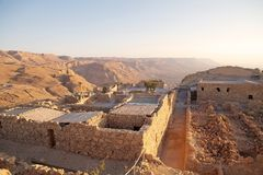 Masada Israel. The Northern Palace ruins at the Masada fortress on the Masada Plateau at dawn, Israel Stock Photography