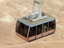 Cable car going to famous Masada Dead Sea Region royalty free stock photo