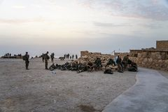 Masada, Israel. 23 October 2018: Group soldiers of the Infantry of the Israeli Army on maneuvers in the fortress of Masada to stock photos
