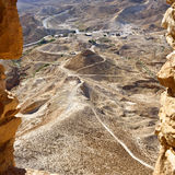 Masada, Israel. View on siege embankment against the western face of the zealot fortress Masada built Legio X Fretensis during First Jewish-Roman War in 72 CE Stock Photo