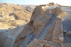 Masada Israel. The Western path and gate at the Masada fortress ruins on the Masada plateau, Israel Royalty Free Stock Photo