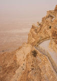 Masada mountain in the haze Royalty Free Stock Image