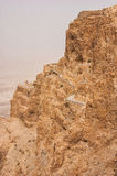 Masada mountain in the haze. Israel Stock Photo
