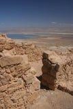 Masada Ruinen und Totes Meer Lizenzfreie Stockfotos