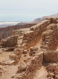 Masada Ruins and the Dead Sea Royalty Free Stock Image