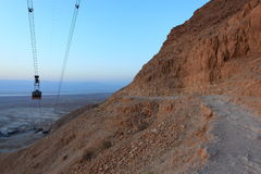 Masada Snake Path and Cableway - Israel. View from the Masada Snake Path on the Desert of Judah and the Dead Sea. The Masada cable car or funicular is the lowest Royalty Free Stock Photography