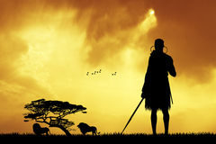 Masai in African landscape Stock Photography