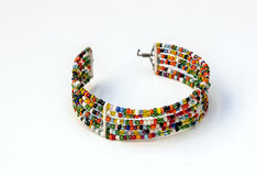 Masai bracelet colors. Surrounded by white background Stock Image