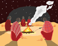 Masai camp fire. A hand drawn illustration of a group of masai men around a camp fire under the stars Stock Photography