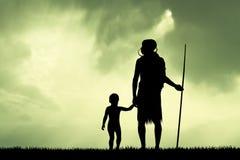 Masai and child at sunset. Illustration of Masai and child at sunset Royalty Free Stock Photo