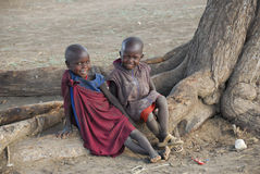 MASAI CHILDREN Stock Photo