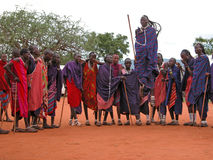 Masai dance. Massai welcome dance. Photo taken on: December 01, 2007 in the vicinity of Mombasa - about 100 km, the road towards the Tsavo East National Park Royalty Free Stock Images