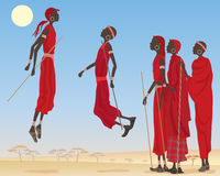 Masai dancing. An illustration of a group of dancing masai men dressed in traditional clothing with jewelery and canes in an east african landscape under a blue Stock Photos