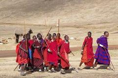 Masai-Dorf tanzania Stockfoto