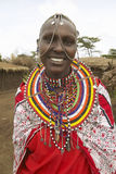 Masai female in robe with beads in village near Tsavo National Park, Kenya, Africa Stock Photo