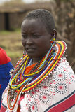 Masai female in robe with beads in village near Tsavo National Park, Kenya, Africa Stock Photos