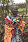 Masai female in robe with beads in village near Tsavo National Park, Kenya, Africa Stock Photography