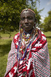 Masai female in robe in village near Tsavo National Park, Kenya, Africa Royalty Free Stock Photography