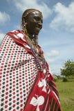 Masai female in robe in village near Tsavo National Park, Kenya, Africa Stock Photo