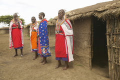 Masai females in robes in village near Tsavo National Park, Kenya, Africa Stock Photography