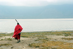 Masai in front of Empakai lake Stock Photography