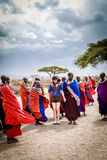 Masai het welkome dansen Royalty-vrije Stock Fotografie