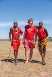MASAI homens do Masai de MARA, KENYA, ÁFRICA 12 de fevereiro dentro fotografia de stock royalty free