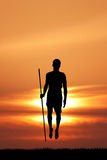 Masai man at sunset Royalty Free Stock Photography
