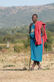 Masai man in traditional clothing with stick Royalty Free Stock Images