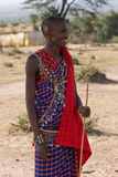 Masai man in traditional dress with stick Royalty Free Stock Images