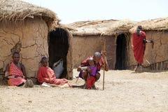 Masai man, women and child Royalty Free Stock Photo