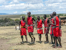 Masai Mara jumping Stock Photo