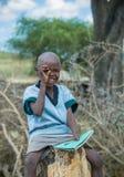 MASAI MARA KENJA, Wrzesień, -, 23: Masai chłopiec na Wrześniu, 23, 2 Zdjęcia Stock