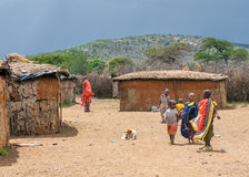 MASAI MARA KENJA, Wrzesień, -, 23: Masai tradycyjna wioska dalej Zdjęcia Royalty Free