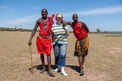 MASAI MARA, KENYA, AFRIKA FEBRUARI 12 Masaimän in Arkivbild
