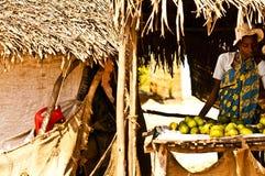 Masai Mara, Kenya 18 DE DEZEMBRO DE 2011: Mulher do Kenyan que vende o fruto em um mercado em Kenya Fotos de Stock Royalty Free