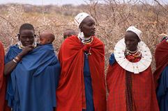 Masai Mara women and children Royalty Free Stock Photos