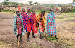 Masai men tribe in Kenya, Africa Royalty Free Stock Photography