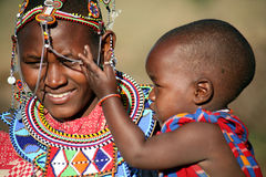 Masai Mother and Child (Kenya) Stock Images