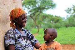 Masai mother with her boy royalty free stock photo
