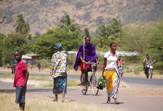 Masai outside their village. Residents of the Tanzanian village on your street Stock Photography